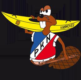 Biber mit einer Banane als Ruderboot